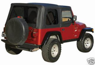 97 06 Jeep Wrangler Replacement Soft Top with Upper Doors Skins, Black