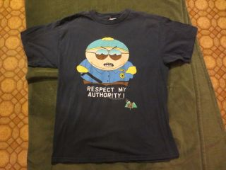 Cartman Respect My Authority Police Shirt, South Park, Navy Blue