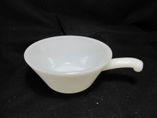 Fire King White Milk Glass Handled Chili Bowl ~ EUC