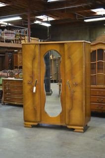 845 1   FRENCH OAK ART DECO ARMOIRE WARDROBE