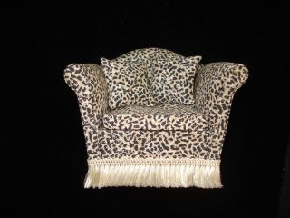 Chantilly Designs Dollhouse Leopard Print Chair with Fringe   Artisan