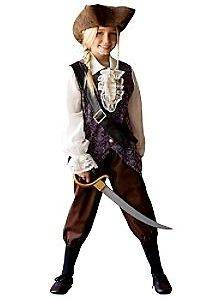DISNEY GIRLS ELIZABETH SWANN PIRATE COSTUME NEW XS