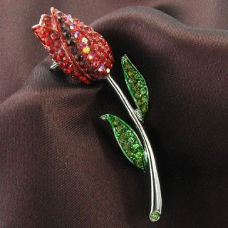 Love Red Rose Tulip Flower Green Leaves Necklace Pendant Crystal