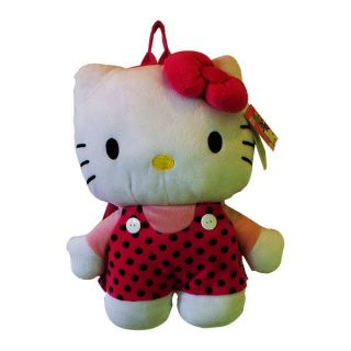 HELLO KITTY Body 16 In Plush Cute Girls KIDS Backpack Bag Polka Dots