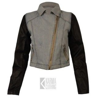 LADIES WOMENS DENIM FAUX LEATHER SLEEVE CROP BIKER JACKET SIZES 8 10