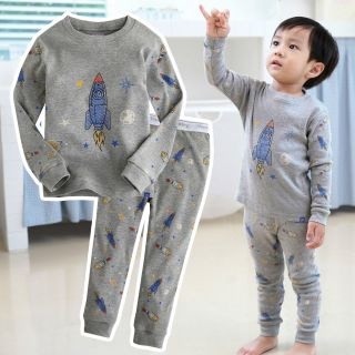 Baby Toddler Kids Boy In Door Sleepwear Pajama Set Space Rocket