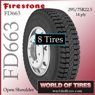 tires Firestone FD663 295/75r22.5 22.5 semi truck tires 22.5lp 225