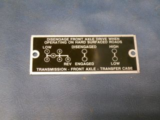 Dodge Power Wagon Civilian 1946 to 1967 shift pattern plate