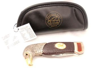 FRANKLIN MINT EAGLE Head Knife w/ Orange Stone & Bag
