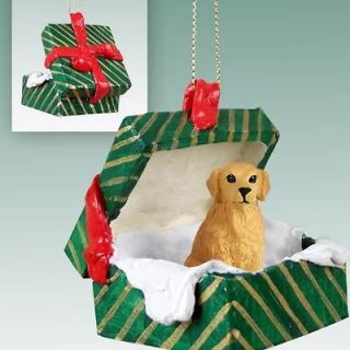 GOLDEN RETRIEVER Dog Green Gift Box Christmas Holiday ORNAMENT *