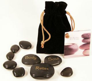HOT STONE MASSAGE Natural Tumbled Basalt Stones 9 Pc Starter Set