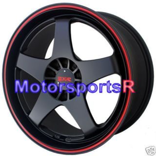 Black Red Stripe Wheels Rims 04 05 Acura TSX 02 06 RSX Type S 03 TL
