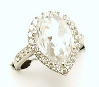 LADIES HEAVYWEIGHT SILVER PEAR SHAPED CZ CLUSTER ENGAGEMENT RING