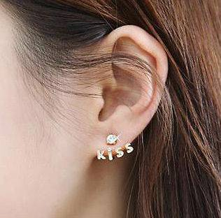Korea Style Gold Plated Rhinestone Heart Love Letter Earring Ear Stud