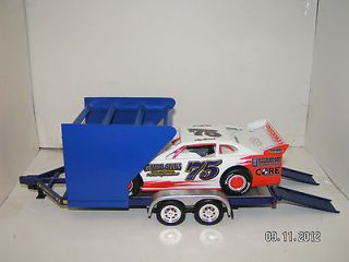 Modified Dirt Late Model Race Car Hauler Trailer 1/24 Blue 3 Row Tire