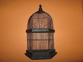 BLACK WOOD AND WIRE DECORATIVE BIRD CAGE TABLE TOP OR HANG NEW WITHOUT