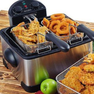 Pro Fry Deep Fryer & Timer 4 Liter Tank 3 Basket Restaurant NEW