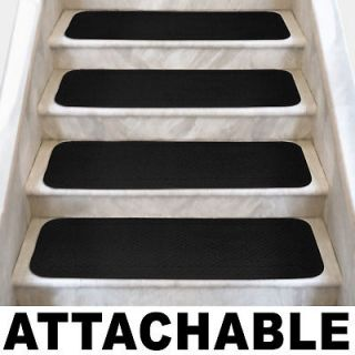 Set of 12 ATTACHABLE Carpet Stair Treads 8x27 BLACK runner rugs