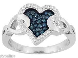 Adorable Blue Diamond Heart Ring .15ctw In .925 Sterling Silver *FREE