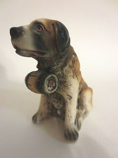 Rare Signed FARH Hand Painted Rescue St Bernard Dog Figurine ITALY