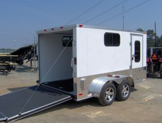 14 ft Finished interior enclosed motorcycle cargo trailer ramp door