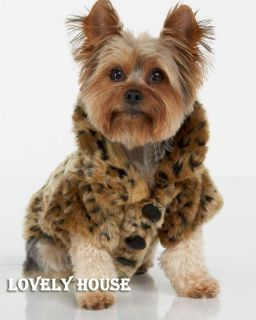 LUXURY Pet Dogs Coat Leopard Faux Fur Jacket Winter Clothes Size S XL