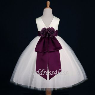 IVORY/PLUM EGGPLANT DARK PURPLE PAGEANT FLOWER GIRL DRESS 12 18M 2 4 6