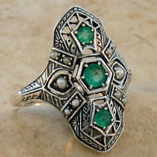 NATURAL EMERALD ANTIQUE ART DECO DESIGN .925 STERLING SILVER RING SIZE