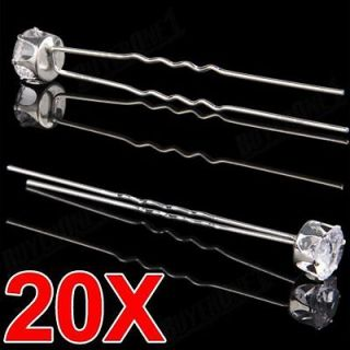 20 Wedding Bridal Party Crystal Rhinestone Hair Pins