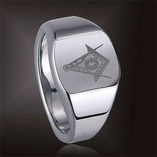Carbide Silver Magnificen Freemason Masonic Ring Size 12   TG040