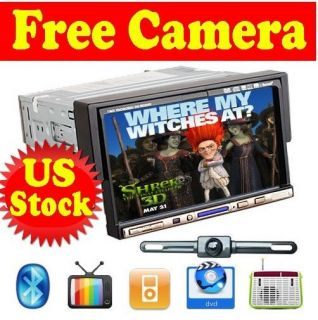 Free CAM 7Single 1 Din In Dash Car Radio DVD Player Touch Screen BT