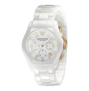 Emporio Armani AR1416 Men Ceramic White Watch Gold Rose Chrono