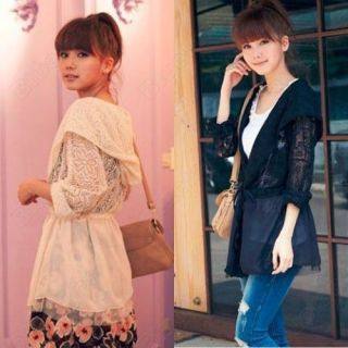 Korean Style Girls Womens Elegant Chiffon Lace Dress Jacket Hoodile