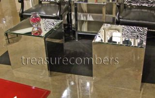 Modern MIRRORED CUBE Coffe Table END TABLES Hollywood