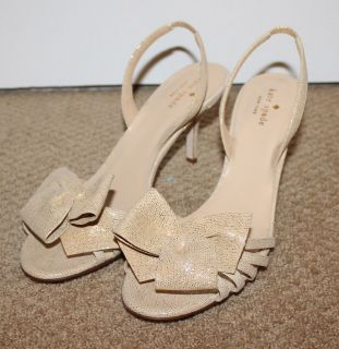 NEW KATE SPADE NEUTRAL GOLD GLITTER BOW OPEN TOE HEELS 10 $350