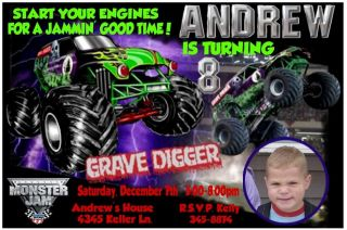 Grave Digger MONSTER TRUCK Birthday Party Invitations  Monster Jam