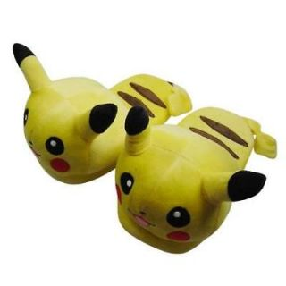 One Pair POKEMON Pikachu Soft Plush Stuffed Slipper YW