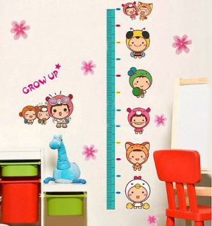 Lovely Kids Growth Height Chart Measure Wall Sticker Nursery Kids