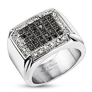 Stainless Steel Black & Clear 1.04 Carat Micro Pave CZ Ring Size 7 13
