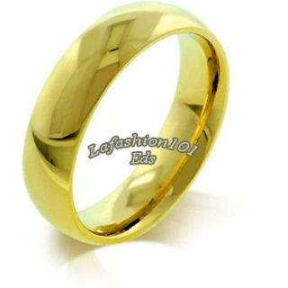 5MM MENS/WOMENS IPG Gold STAINLESS STEEL WEDDING BAND RING SIZE 5 10