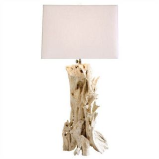 Distressed White Driftwood Art Deco Table Lamp