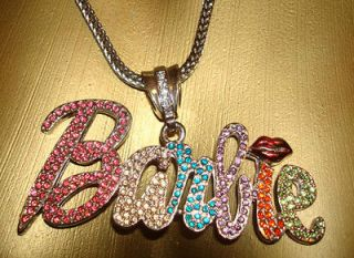 Nicki Minaj Famous BARBIE Necklace Chain Iced Out Rhinestones Rhodium