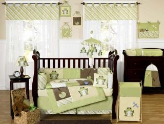 UNISEX YELLOW GREEN FROG FROGGY 9p BABY BOY GIRL CRIB BEDDING SET