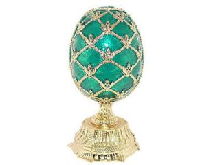 New Swarovski Crystal Bejeweled Green Russian Faberge Egg with Basket