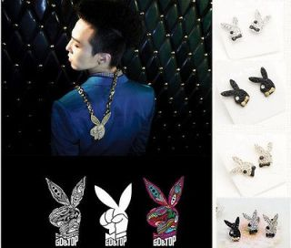 Big Bang GD TOP High High Rabbit Black/Gold/Sil​ver Earrings DE49