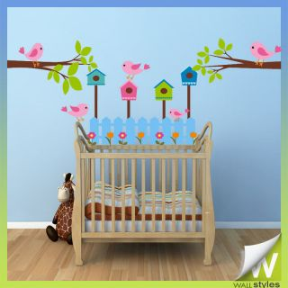 Bird House Cage Tree Wall Stickers Decor Vinyl Art For Childrens