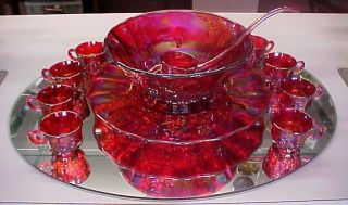 Mosser Glass Ruby Carnival Grape Punch Bowl Set New