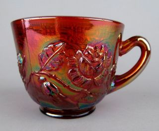ROSES / PERSIAN MEDALLION by FENTON AMETHYST CARNIVAL GLASS PUNCH CUP