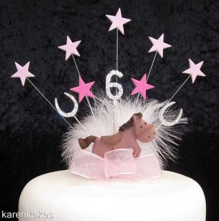 PONY BIRTHDAY CAKE TOPPER WITH DIAMANTE AGE AND HORSESHOES 4th 5th 6th
