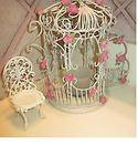 PartyLite shabby chic Victorian Candle Holder Rose Garden Gazebo,Chair